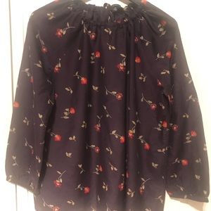 Madewell floral printed silk top blouse